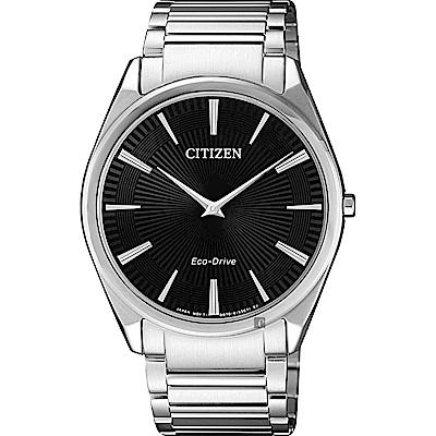 CITIZEN星辰Eco-Drive 紳士薄型手錶-黑x銀/38mm AR3071-87E