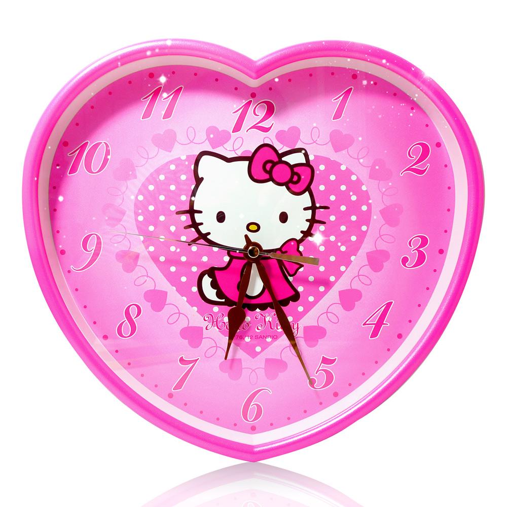 Hello Kitty愛心點點超靜音掛鐘 JM-W567KT-P