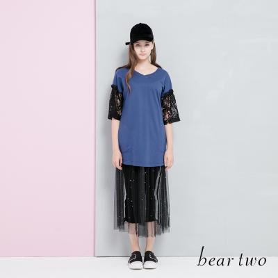 beartwo V領拼接蕾絲袖身長版上衣(二色)