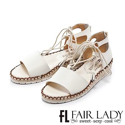 Fair Lady 羅馬綁帶裝飾草編楔型涼鞋 白