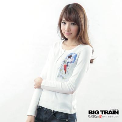 BIG TRAIN半開襟櫻姬印花TEE-女-白