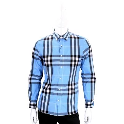 BURBERRY 藍色格紋伸縮棉質長袖襯衫(男款)