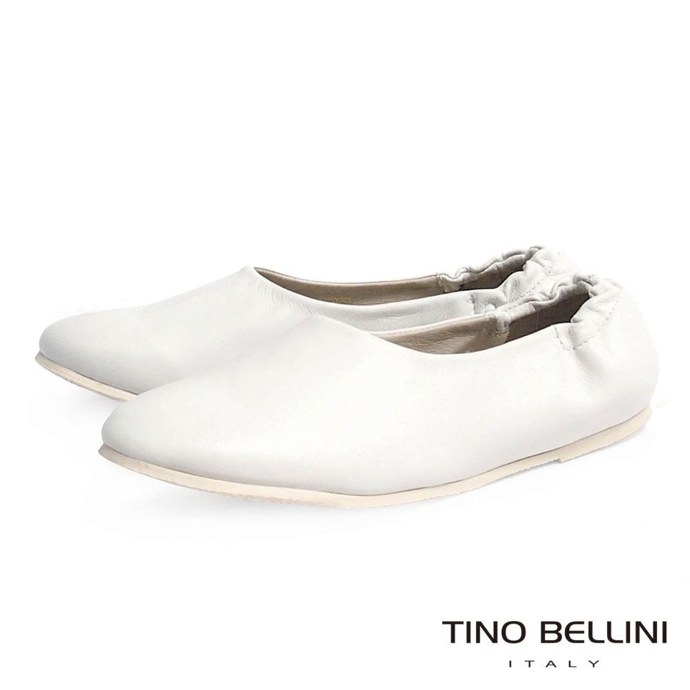 Tino Bellini 歐洲進口極簡原色全真皮後鬆緊帶包鞋_白