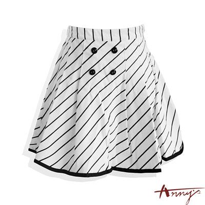 Annys氣質學院雙排扣壓摺傘狀短裙*0181白