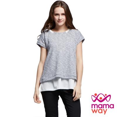 孕婦裝 哺乳衣 襯衫領竹結假兩件上衣(共二色) Mamaway