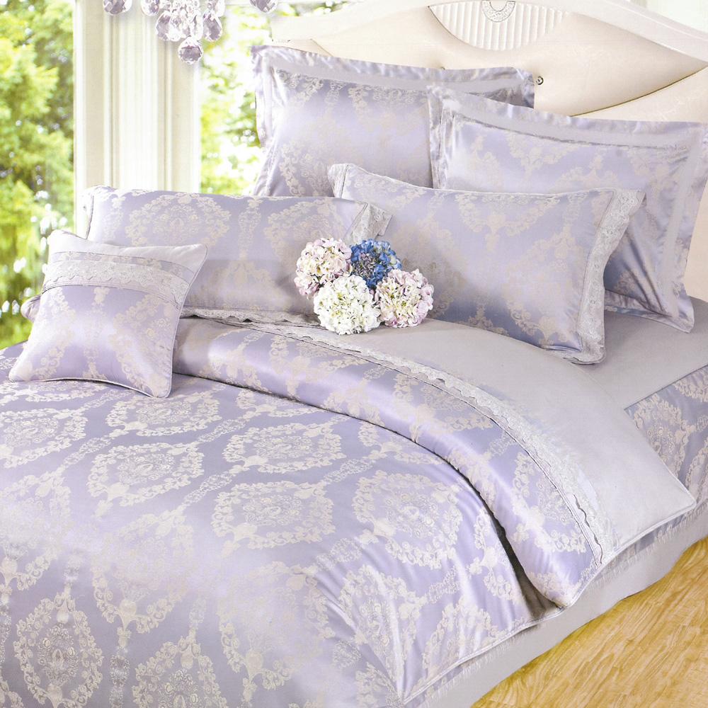 義大利La Belle 絕代藍韻 加大緹花八件式鋪棉兩用被床罩組