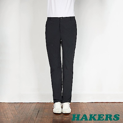 【HAKERS】男-快乾彈性長褲-損石黑