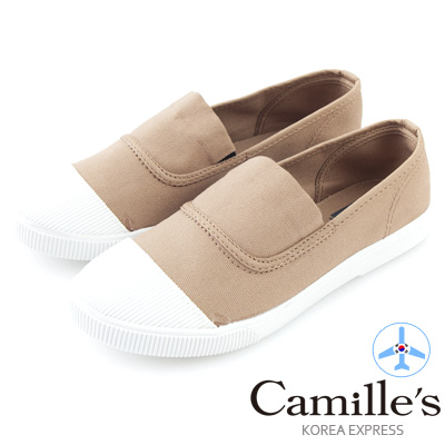 Camille's 韓國空運-正韓製-彩色心情-素面帆布懶人休閒鞋-栗子咖