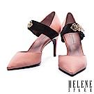 高跟鞋 HELENE SPARK 復古女伶金鍊繫帶絲緞尖頭高跟鞋-粉