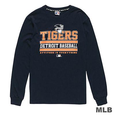 MLB-底特律老虎隊英文字樣印花長袖T恤-深藍 (男)