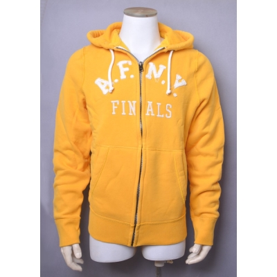 A&F Abercrombie & Fitch仿舊破損LOGO內刷毛連帽外套-黃