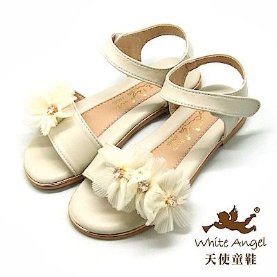 天使童鞋 優雅莉絲朵花漾涼鞋J8002 -米