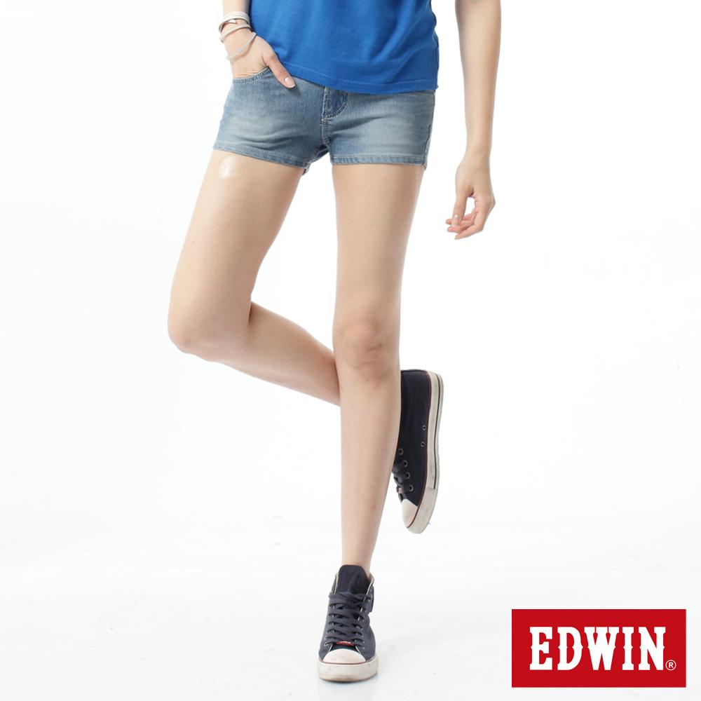 EDWIN 超短褲 迦績褲涼感牛仔短褲-女-重漂藍