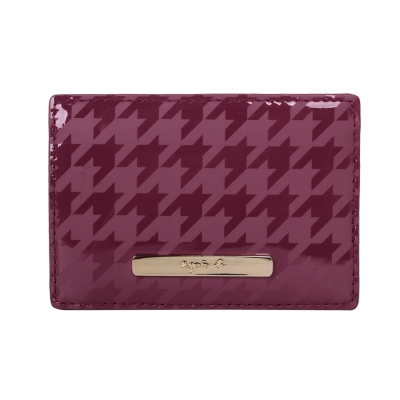 agnes b. 千鳥紋PVC證件卡夾-紫色/金logo