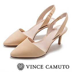 Vince Camuto 真皮素面典雅尖頭中跟鞋-米色
