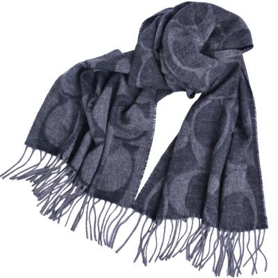 COACH  大C Logo羊毛羊絨流蘇披肩式圍巾-灰