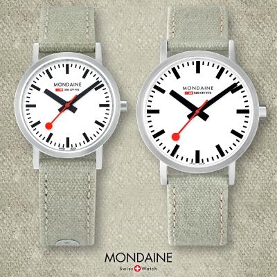 MONDAINE 瑞士國鐵 Classic限量腕錶-白x灰綠錶帶/30+40mm