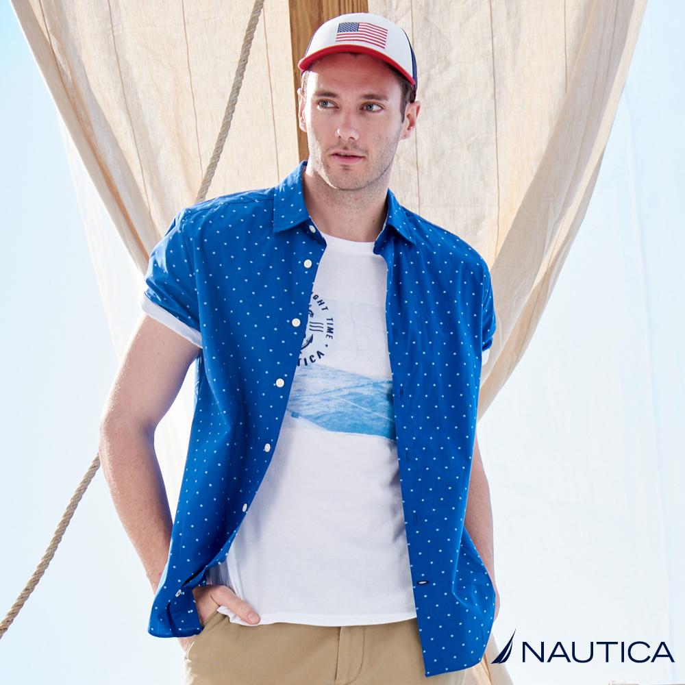 Nautica純色小圖騰短袖襯衫 -藍