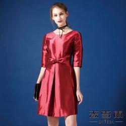 麥雪爾 素色亮面蝴蝶結洋裝
