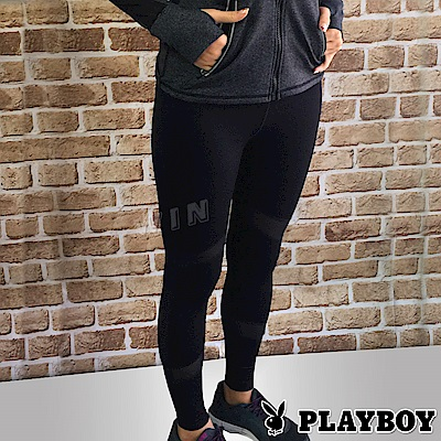 PLAYBOY透視美學網眼系列-運動瑜珈9分褲(黑色06C17002)