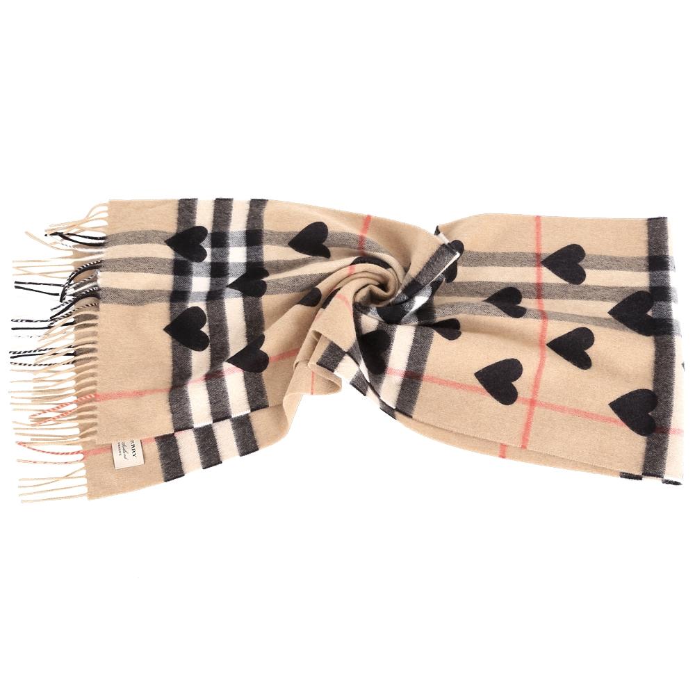 BURBERRY 黑色經典格紋心型喀什米爾圍巾(100%CASHMERE)