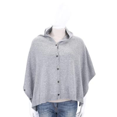 ALLUDE 灰色排釦設計羊毛罩衫/披肩(70%WOOL)