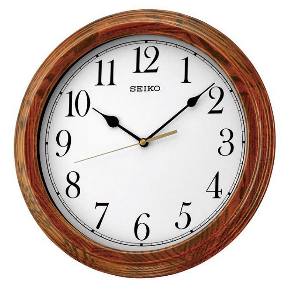 SEIKO 精工 木質恆動式秒針圓形掛鐘-白/33cm