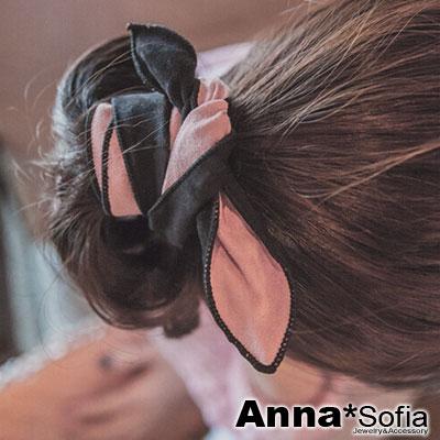 【3件5折】AnnaSofia 雙面雙色 仿麂皮兔耳髮帶髮圈(黑+粉)