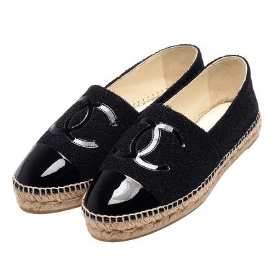 CHANEL經典Espadrilles漆皮小香LOGO拼接布料厚底鉛筆鞋(黑)
