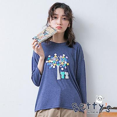 betty's貝蒂思 樹木喵咪印花七分袖T-shirt(深藍)