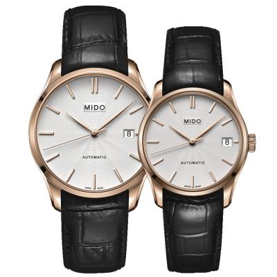 MIDO Belluna II雋永系列80小時皇家經典機械對錶-40+33mm-玫瑰金