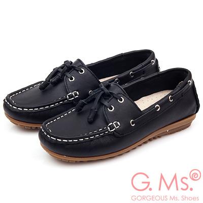 G.Ms. MIT情侶鞋系列-水洗牛皮帆船鞋-實搭黑