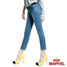 BRAPPERS 新美腳Royal系列-女用彈性鑲鑽七分反摺褲-藍