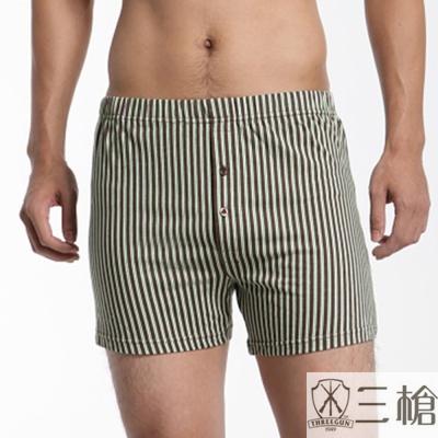 三槍牌 時尚精典純棉針織平口褲3件組(隨機取色)
