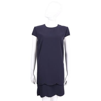 ELISABETTA FRANCHI 深藍色素面短袖洋裝