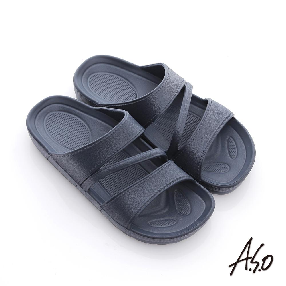 A.S.O 輕量系列 厚底居家拖鞋 深藍
