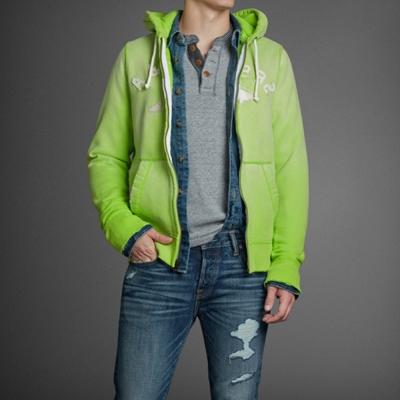 A&F 男裝 立體貼布耳機孔連帽外套(螢光綠)