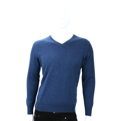 Andre Maurice 藍色V領手肘拼接長袖毛衣(100%CASHMERE)