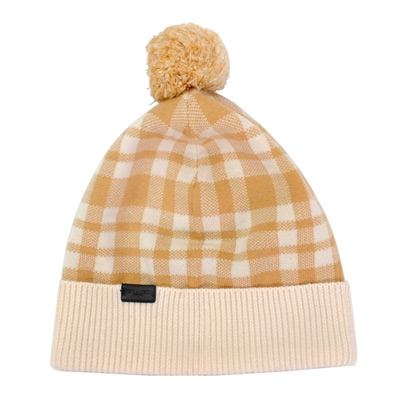 COACH淺卡米色格紋絨球羊毛保暖帽(24CM)