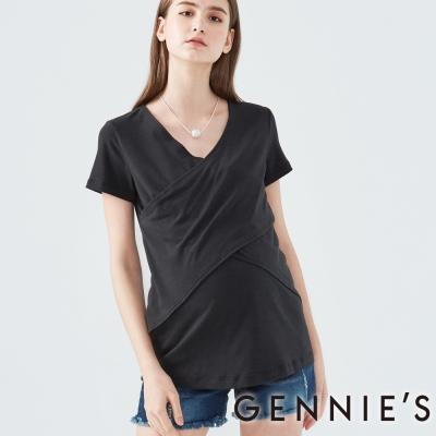Gennies奇妮-垂墜風短袖假兩件上衣(T3D14-黑)