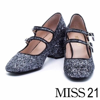 跟鞋 MISS 21 復古甜心璀璨格麗特超纖瑪麗珍粗跟鞋-銀