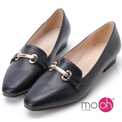 mo-oh-全真皮-質感方頭簡約金屬扣鍊條低跟鞋