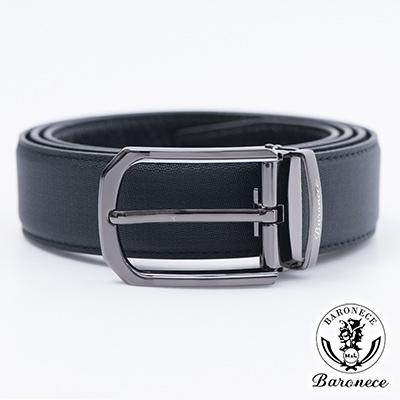 BARONECE 時尚色系嚴選高品質皮革皮帶_黑色(517007)