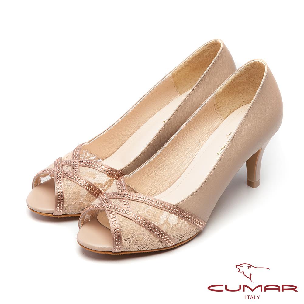 CUMAR優雅拼接-優雅魚口透膚蕾絲拼接露趾高跟鞋-粉膚