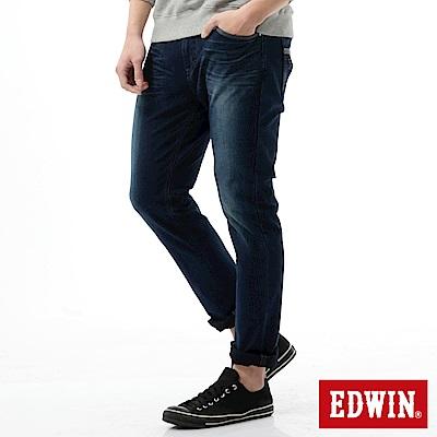 EDWIN 窄直筒 迦績褲CARGO牛仔褲-男-拔洗藍