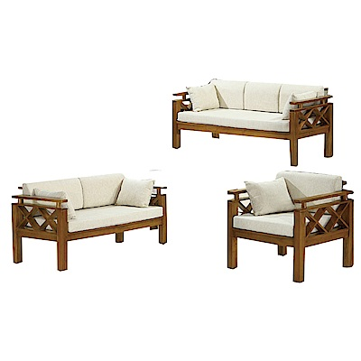 品家居 格蒂思亞麻布實木椅組合(1+2+3人座+不含椅墊)