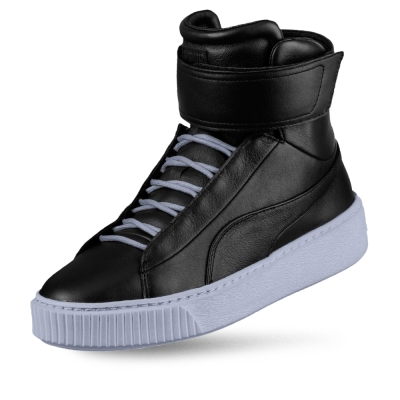 PUMA Platform Mid 女性復古休閒鞋-黑色
