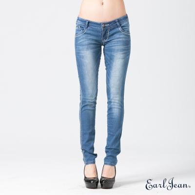 Earl Jean 闇銀刺繡燙鑽袋花低腰緊身窄管褲-中藍-女
