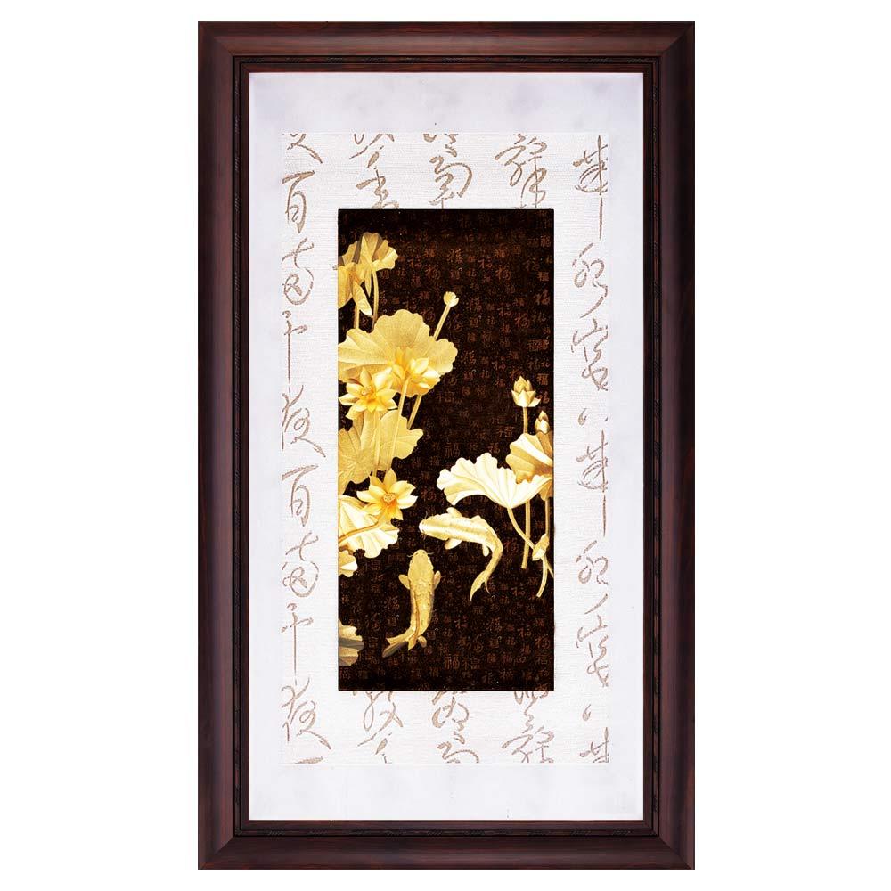 鹿港窯-立體金箔畫-連年有餘(彩金系列48x82cm)