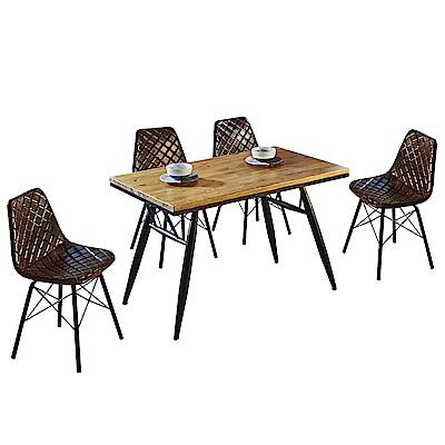 AT HOME-工業風設計4尺實木鐵藝餐桌椅組-一桌四椅(120*70*76cm)